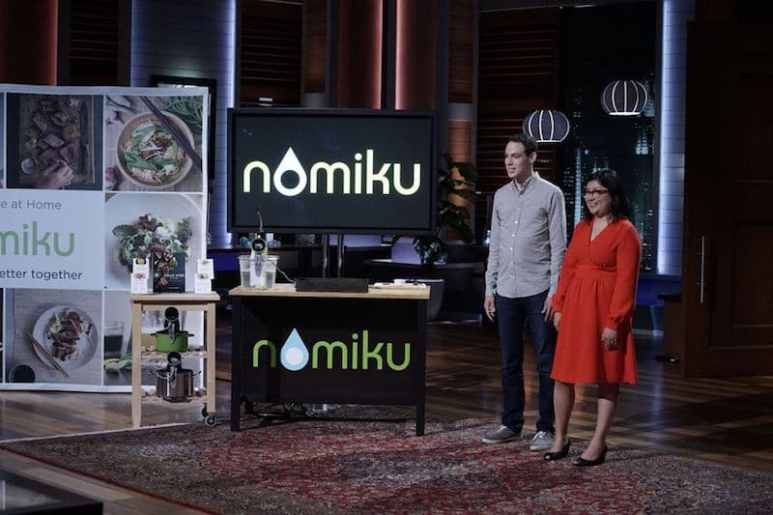 Nomiku creators Abe and Lisa Fetterman during their pitch on Shark Tank
