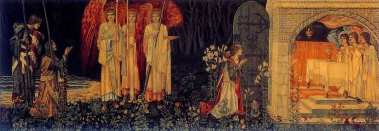 Knights on a quest find the Holy Grail in this tapestry by Morris & Co.
