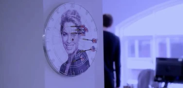 The staff did have a dart board with her face on it...