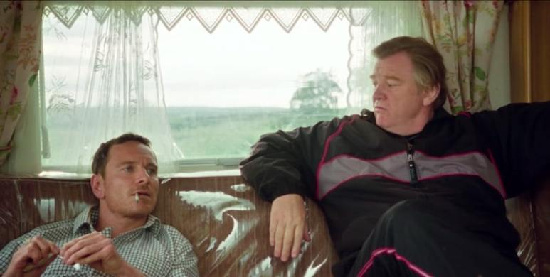 Michael Fassbender as Chad and Brendan Gleeson as Colby in Trespass Against Us