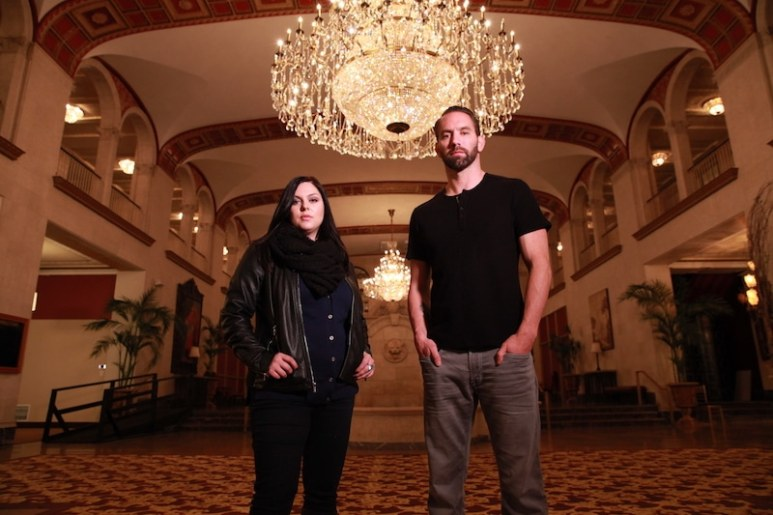 Katrina Weidman and Nick Groff in the grand lobby of the Statler City hotel