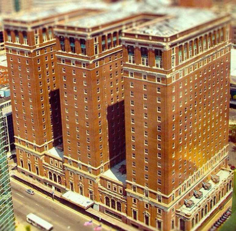 The Statler City hotel seen from above