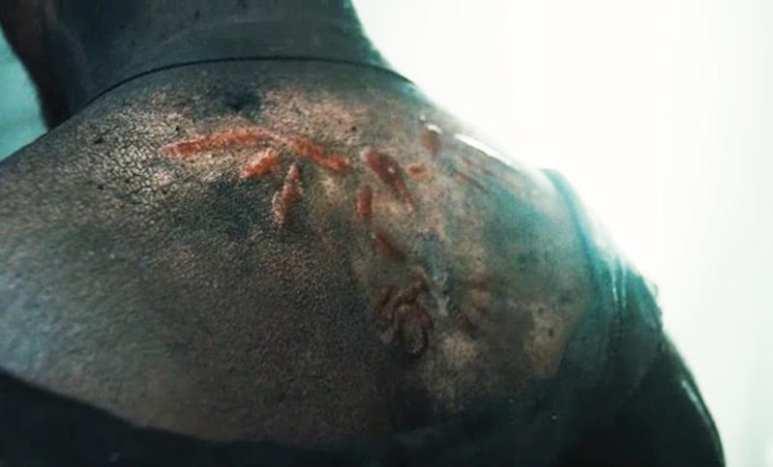 The Sankofa bird symbol tattooed —or branded —into Tom Hardy's back on Taboo