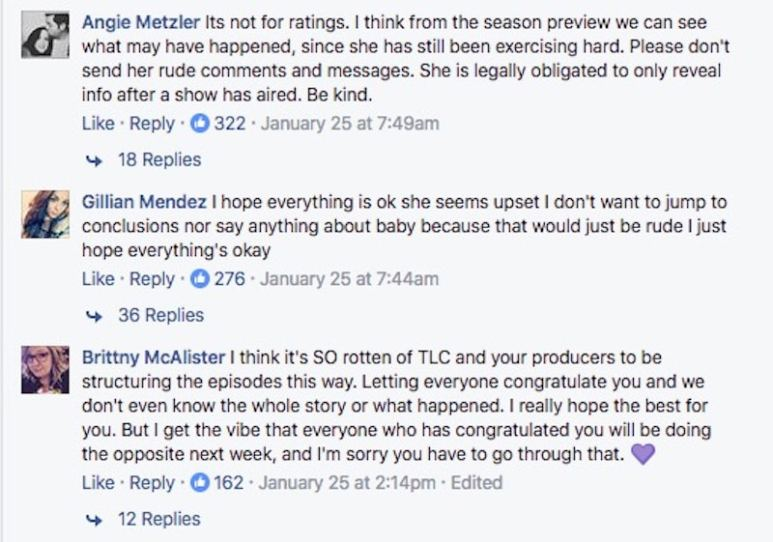 Facebook comments in support of Whitney Thore