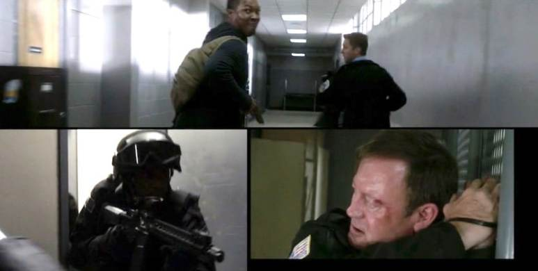 Carter (Corey Hawkins) and his accomplice attempt to escape the police station