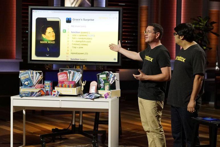 Bitsbox's Scott Lininger and Aidan Chopra during their presentation on Shark Tank