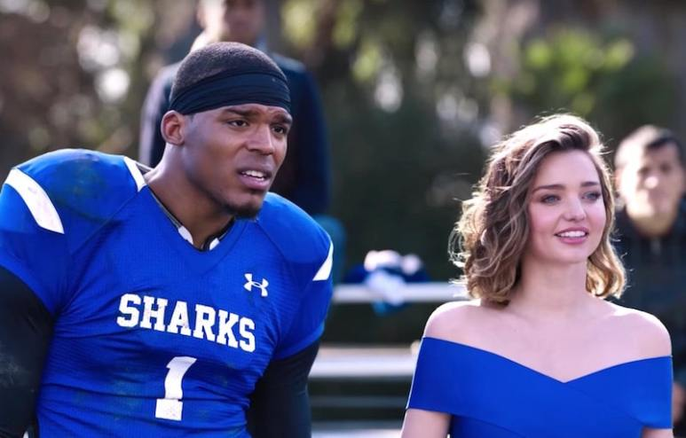 Cam Newton and Miranda Kerr in the Buick Super Bowl 2017 commercial