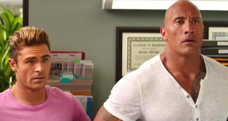 Zac Efron and Dwayne 'The Rock' Johnson in the new Baywatch movie