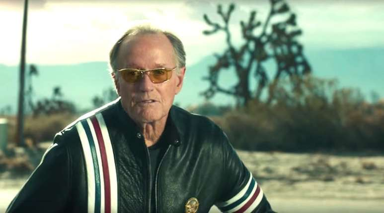 Easy Rider star Peter Fonda in the Coen Brothers-directed Super Bowl commercial for the Mercedes-AMG GT Roadster