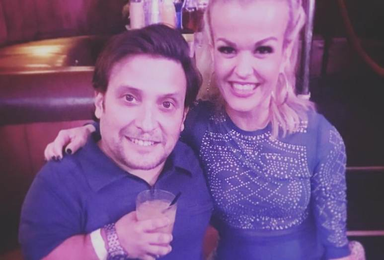Terra with her husband Joe at the OK! magazine Grammy party