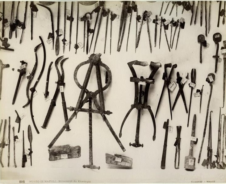 Surgical instruments found in Pompei