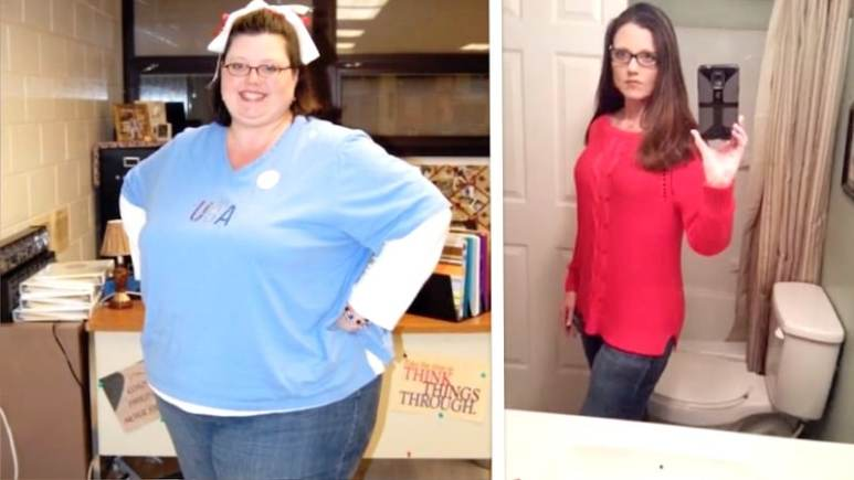 Brenda at her heaviest, weighing in at 429-lb, and after her amazing weight-loss