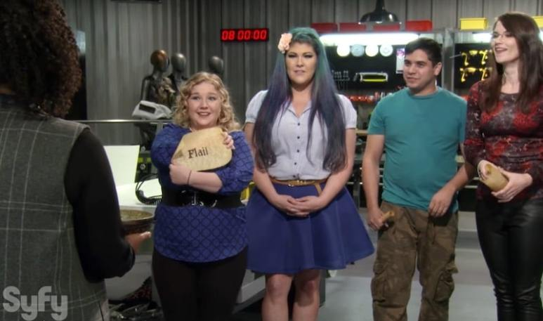 Yvette announces the Game of Thrones challenge to cosplayers Emily, Ruth, Edgar and Jennifer