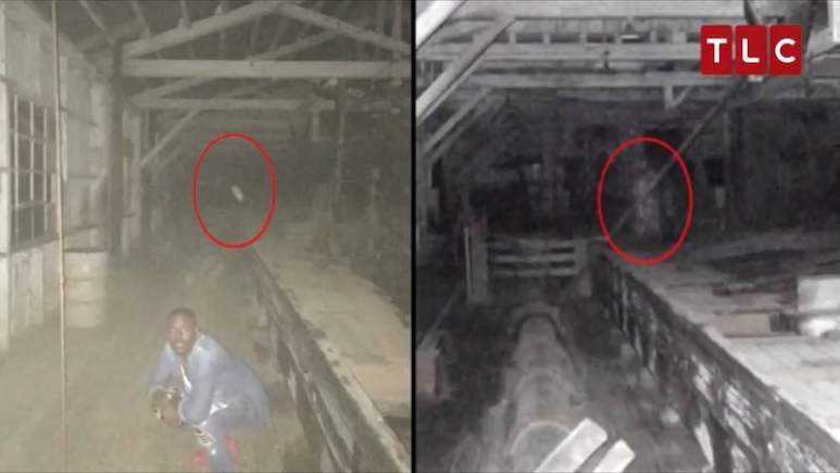 Dalen Spratt, left, with the mysterious object circled and, right, the apparition