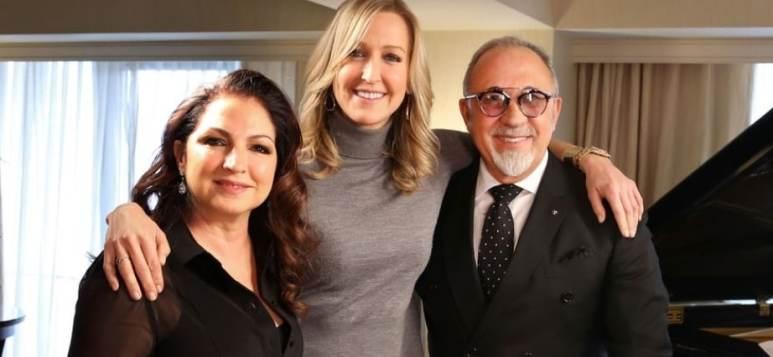 Gloria Estefan, Lara Spencer and Emilio Estefan on Celebrity Love Stories. Credit ABC/Laura Ramirez