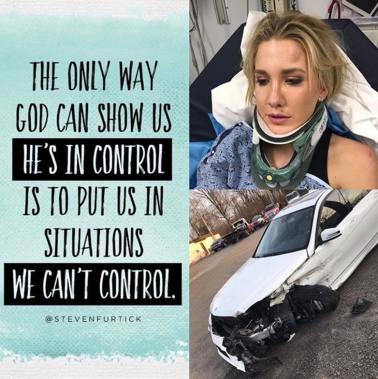 The image Savannah posted to her followers after her crash