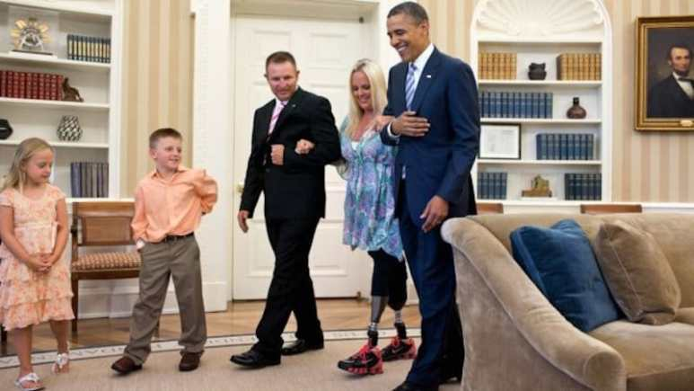 Stephanie Decker with Obama at the White House