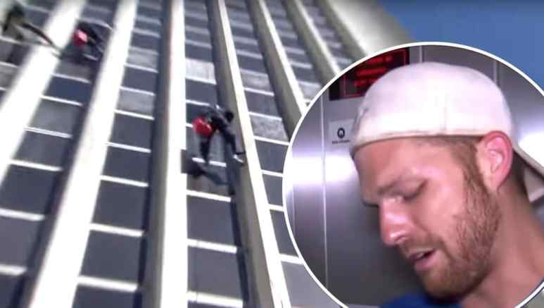 Scott breaks down over the rappelling Roadblock challenge on this week's The Amazing Race