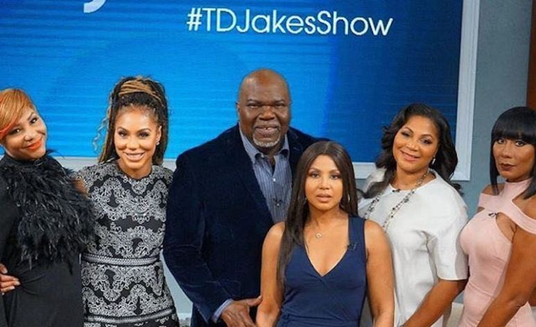 The Braxton ladies at the filming with Bishop T.D. Jakes