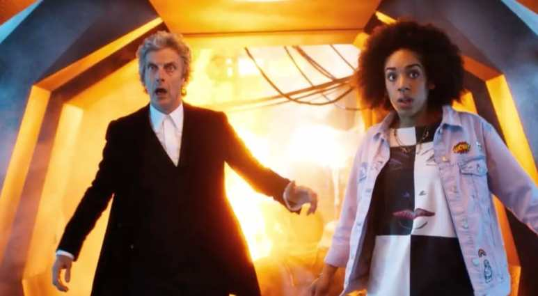 The Doctor and Bill in a tunnel
