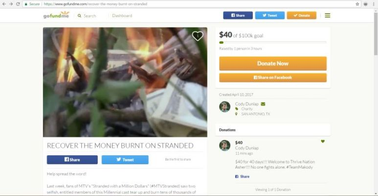 Cody's Go Fund Me page