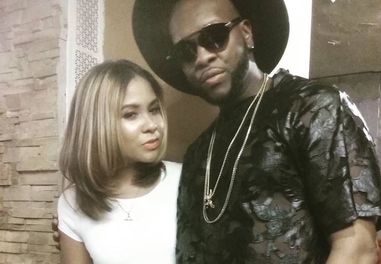 Angela with stylist Jamarcus P during filming at the Pink Tea Cup