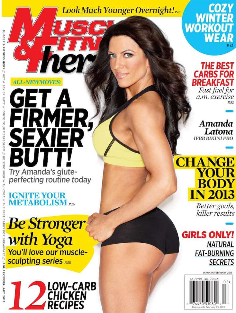 Amanda on the front cover of Muscle & Fitness Hers magazine