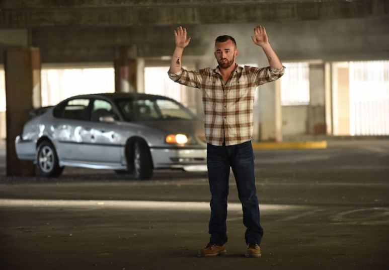 Austin Dillon in front of his car moments before it explodes on the Rosewood season finale