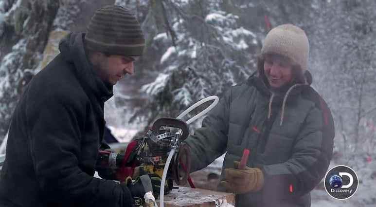 Chris Morse with his engine on Yukon Men