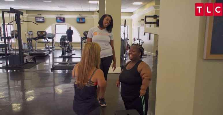 Ayanna talking to Allison at the gym