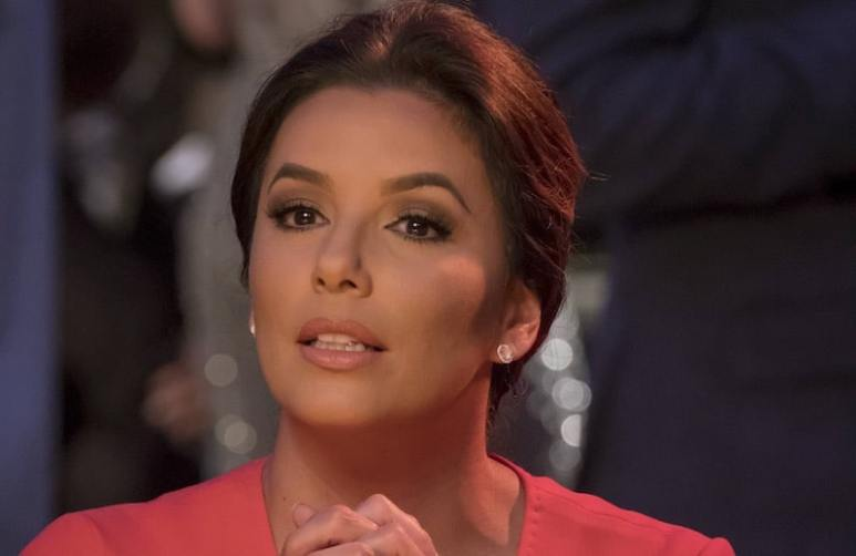 Close-up of Eva Longoria's face in character as Charlotte Frost