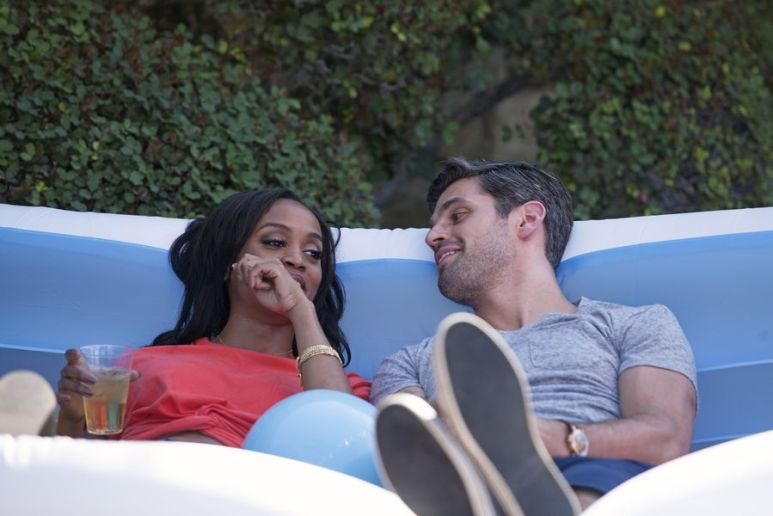 Peter and Rachel pictured relaxing on a couch on The Bachelorette