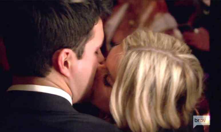 Close-up of Tinsley and Chad kissing on The Real Housewives of New York City