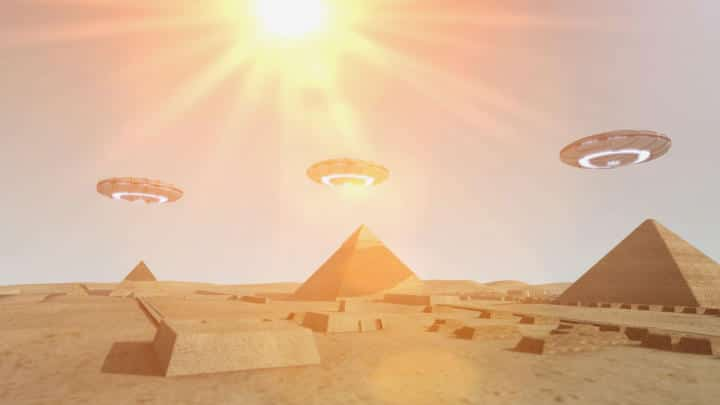 An artist's impression of UFOs above the pyramids of Egypt in footage from Ancient Aliens