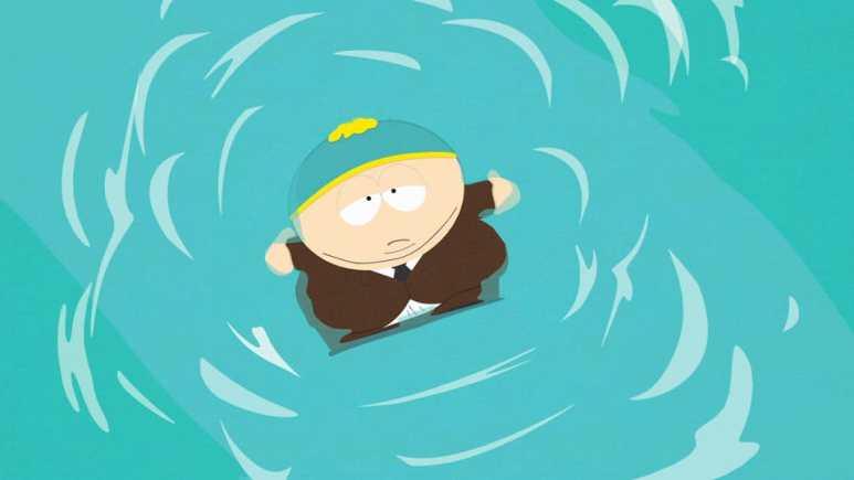 Cartman floating in water at Casa Bonita