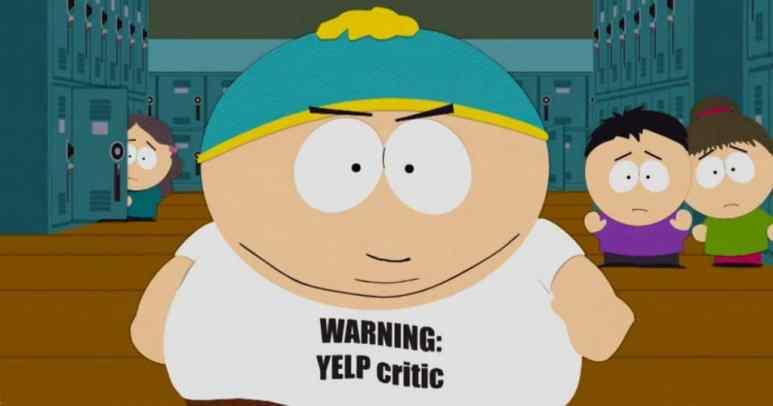 Cartman wearing a shirt saying 'WARNING: YELP CRITIC'