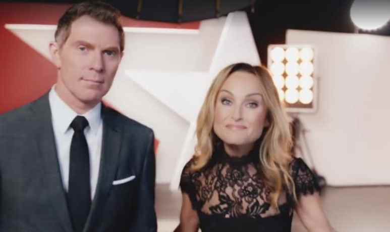 Bobby Flay and Giada De Laurentiis in a promotional video for Food Network Star