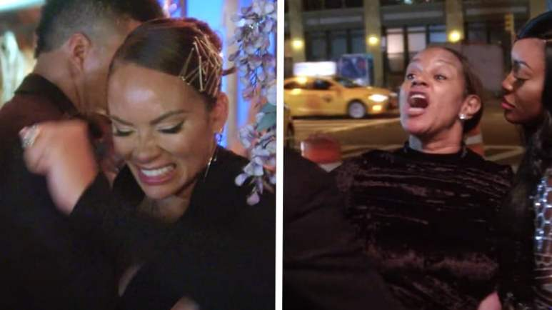 Separate screen captures of Evelyn Lozada and Jackie Christie during the fight on Basketball Wives