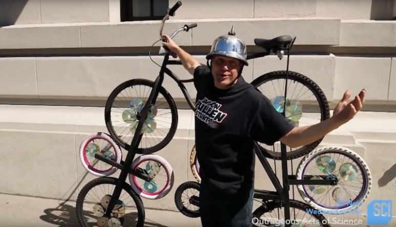 Jason and his ten-wheeled bicycle on Outrageous Acts of Science