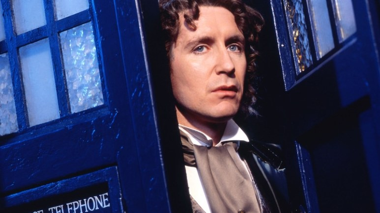 Paul McGann coming out of the TARDIS