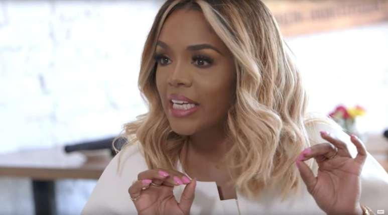 Close-up of Rasheeda as she talks to Kandi Burruss on Love & Hip Hop: Atlanta