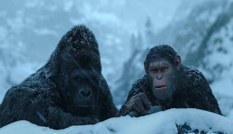 Luca and Caesar behind a snow embankment on War for the Planet of the Apes