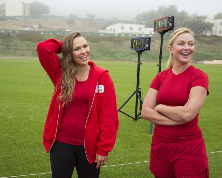 Ronda Rousey and Elisabeth Rohm standing together
