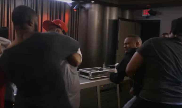 Bow Wow being held back by security in the studio