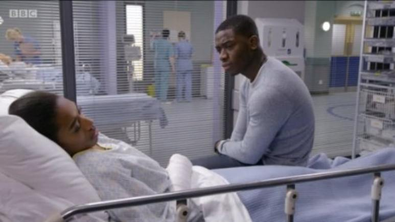 Idris on BBC show Casualty at a bedside