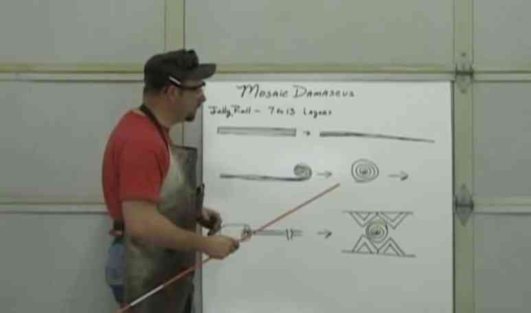 Still from a video demonstrating the jelly-roll technique, as used in Forged in Fire