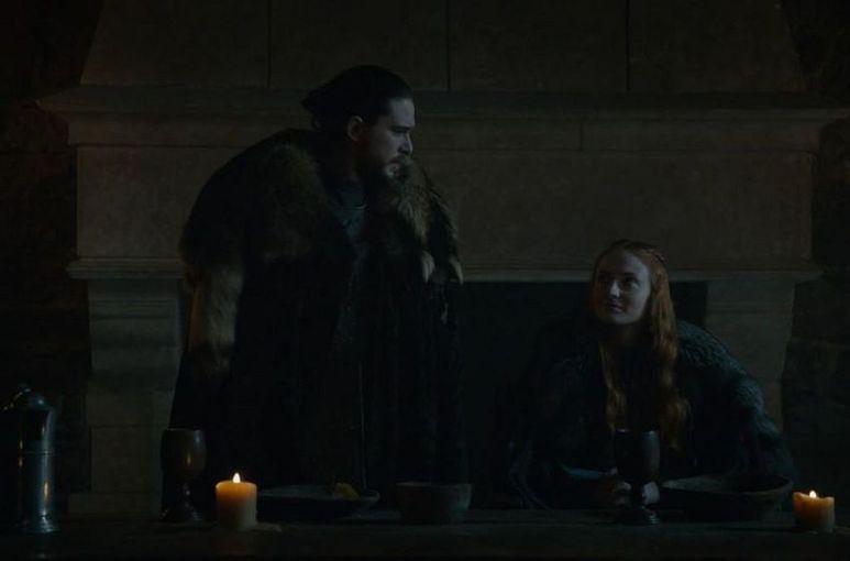 Jon Snow and Sansa Stark talking