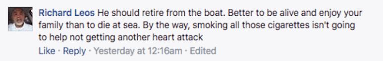 Facebook comment about Sig Hansen's smoking