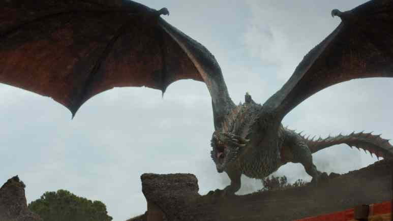 Dany on a dragon in the Game of Thrones finale