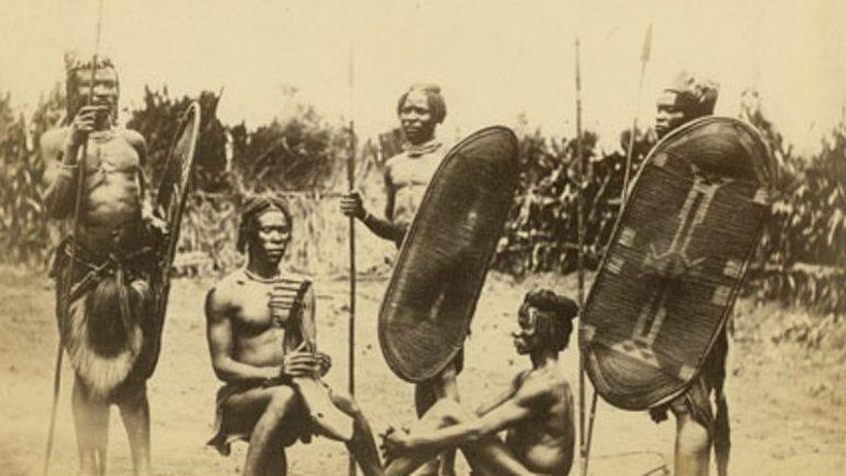 black and white photo of Azandi warriors